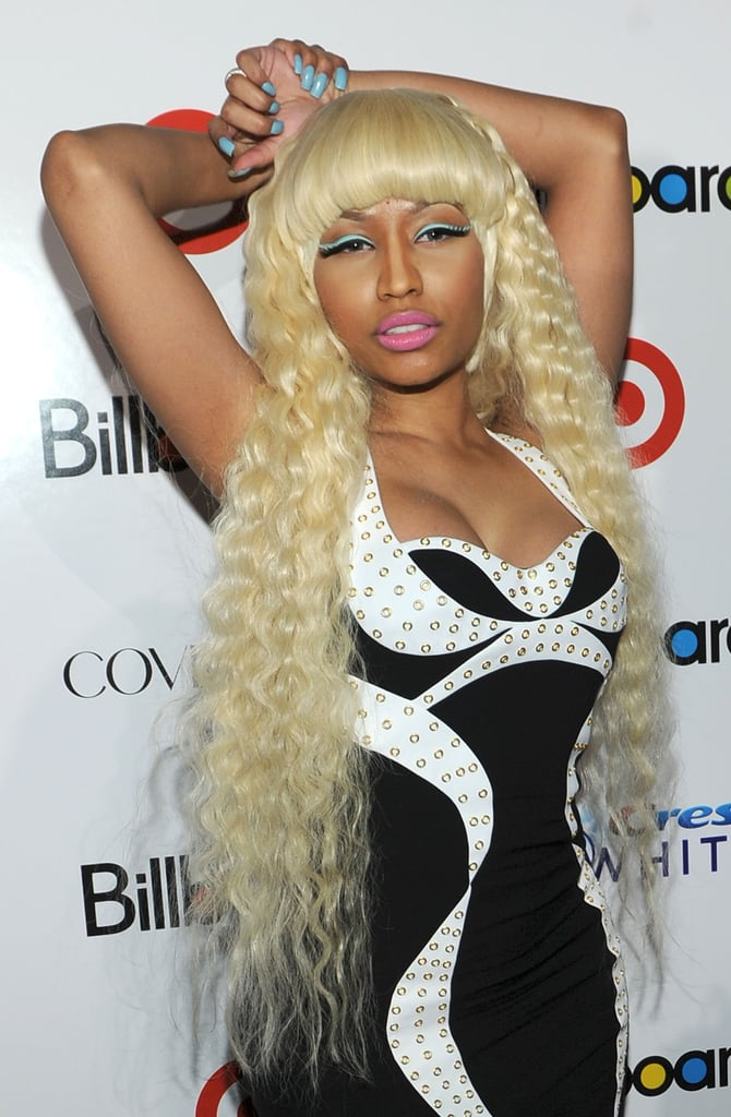 With her light blue nails, winged liner, and long wavy hair, Nicki looked like a modern-day mermaid.