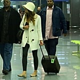 Justin Timberlake and Jessica Biel stepped out together at the airport in Italy.