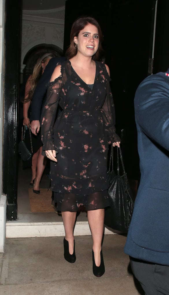 Princess Eugenie styled the footwear with a pretty floral dress showing that the unique shape of the shoes is anything but boring.
