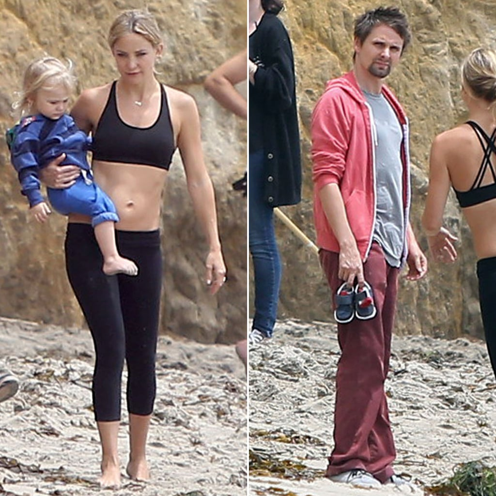 Kate Hudson Works Out in a Black Sports Bra on the Beach