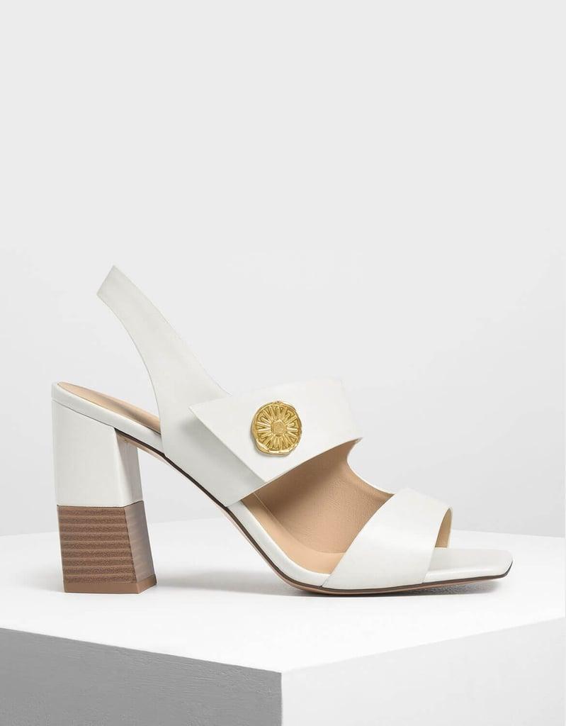Charles & Keith Chalk Asymmetrical Chunky Heel Sandals