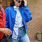 Kendall Jenner Wore a Colbat Blue Bomber Jacket by Fiorucci With a Button-Down Shirt and High-Waisted Jeans