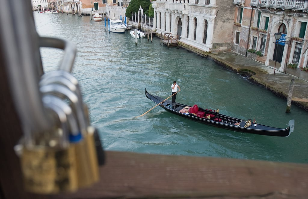 Love locks have made it to Venice, Italy.