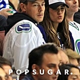 Cory Monteith and Lea Michele attended the NHL Playoffs.