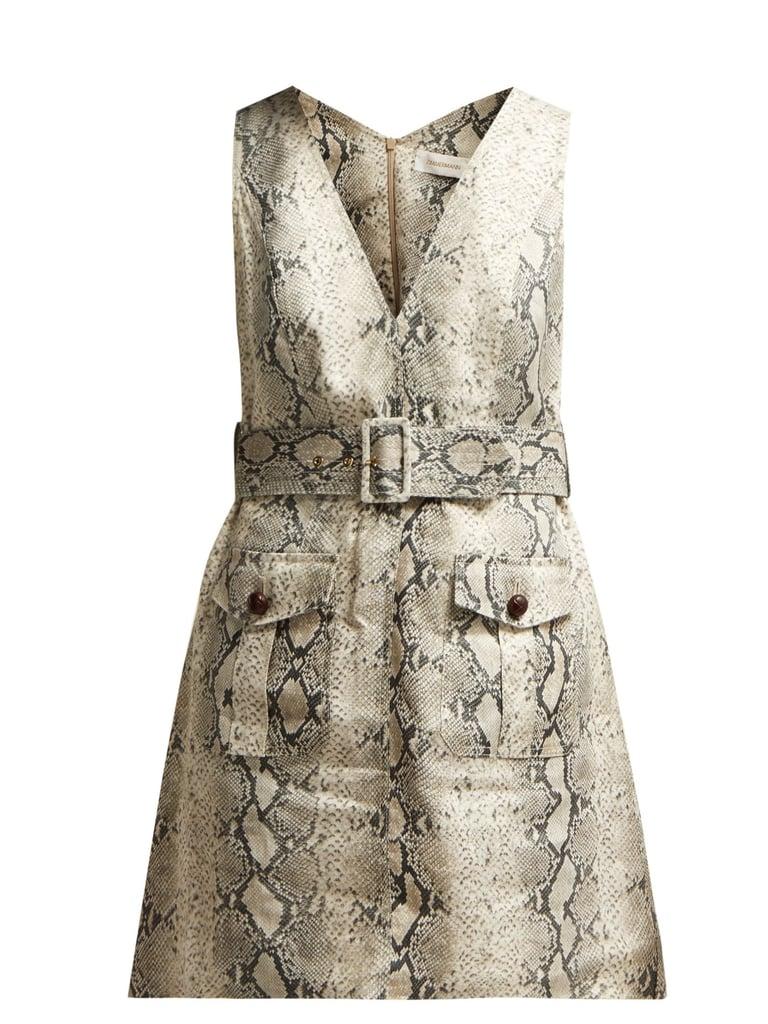 Zimmermann Corsage Python-Print Linen Mini Dress ($721)