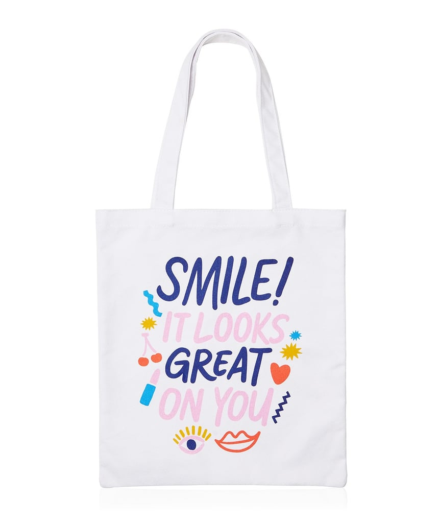Sportsgirl Smile It Looks Great On You Tote Bag ($10)