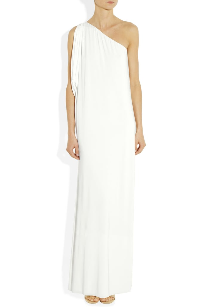Modern and minimalist with just enough interest, thanks to an asymmetrical neckline.  T Bags One Shoulder Jersey Maxi Dress ($190)