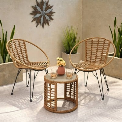 Christopher Knight Home Perkins 3pc Wicker Modern Boho Chat Set