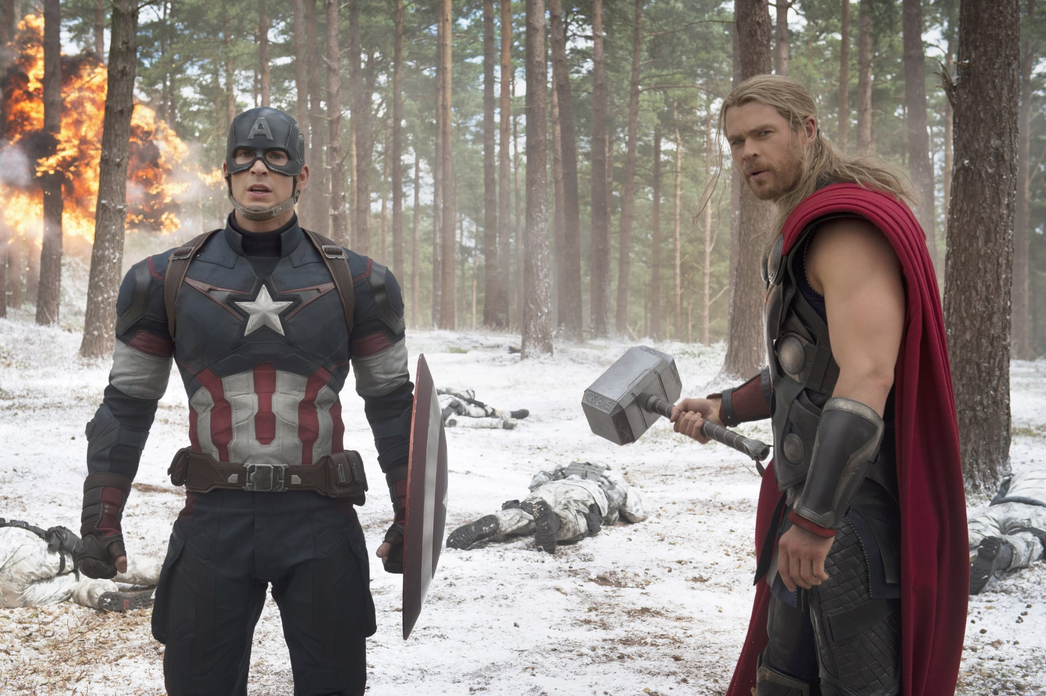 AVENGERS: AGE OF ULTRON, from left: Chris Evans as Captain America, Chris Hemsworth as Thor, 2015. ph: Jay Maidment /  Walt Disney Studios Motion Pictures / courtesy Everett Collection