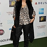 Diane von Furstenberg combined animal prints with aplomb at Hugh Jackman's One Night Only event in Hollywood.