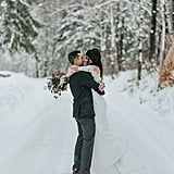 Couple Kelly and Drew wanted to have a wintry wedding that was nothing short of a snowy wonderland, and that's exactly what they got on their special day in Vermont. See the wedding here!
