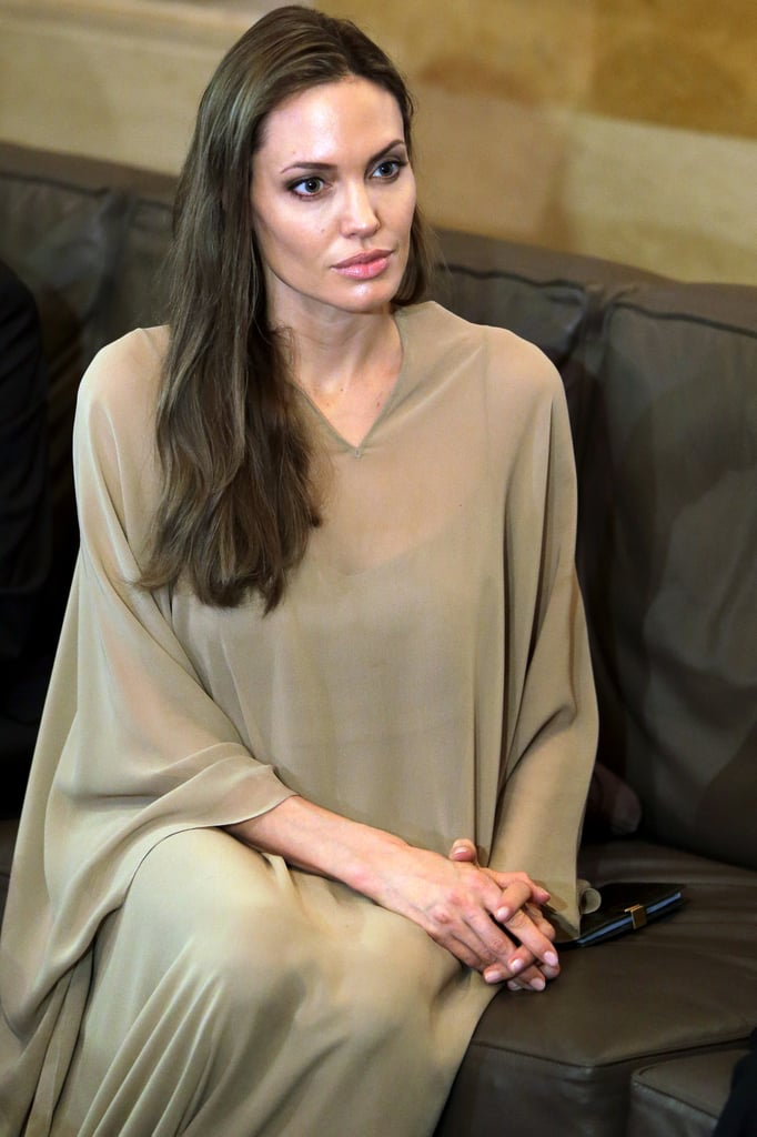 "Angelina Jolie continued her visit to the Middle East today with a stop in Lebanon. She and UNHCR chief António Guterres met with Syrian refugees in the Bekaa Valley, and later talked with officials about the region's challenges. Angelina said, ""I was very moved today to meet again with the Syrian families and to meet them here — not in a camp but in homes where they are welcomed and protected."" Yesterday, Angelina was in Jordan at the Al Zaatari refugee camp. She's traveling during a break from filming Maleficent in London. She and her family have been stationed in the UK while working on the Disney project, though Brad Pitt has also been in front of the cameras for The Counselor."