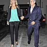 George Clooney with Stacy Keibler at Craig's in LA.