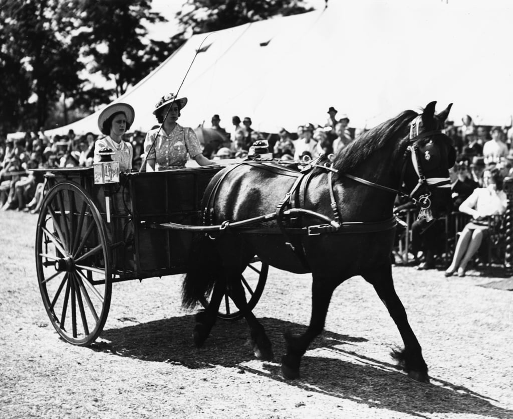 The sisters drove their own carriage during a horse show in 1944.
