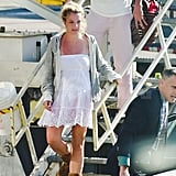 Britney Spears gets off a commercial plane.