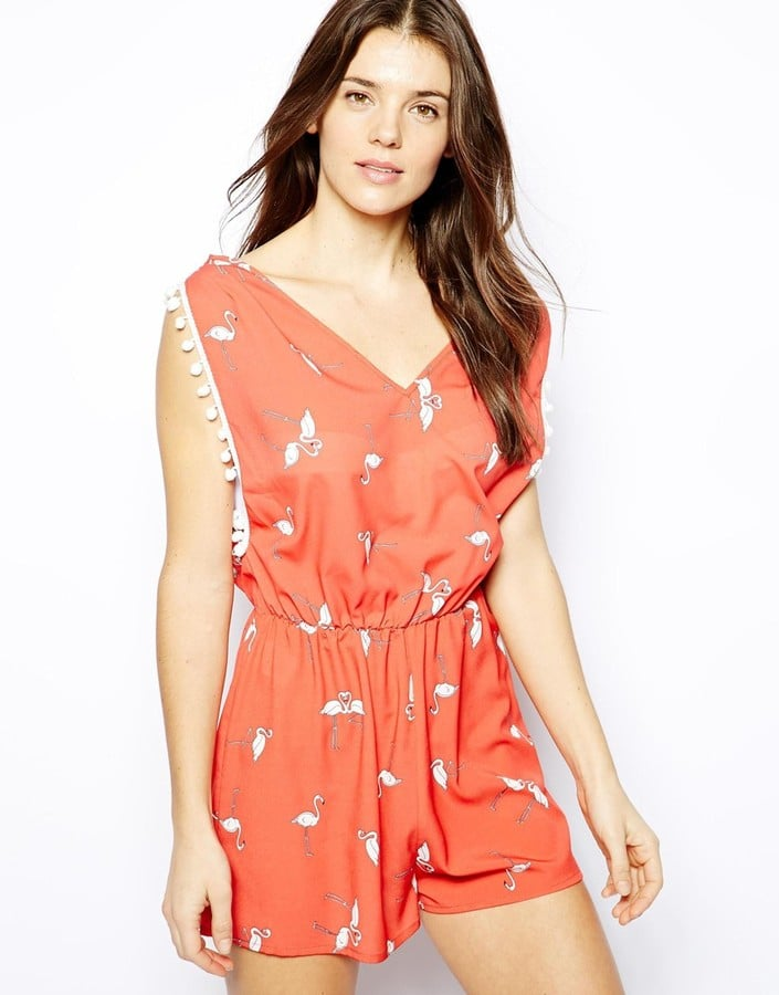 Liquorish Flamingo-Print Playsuit