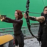 Scarlett Johansson as Black Widow and Jeremy Renner as Hawkeye on the set of The Avengers.  Photo courtesy of Disney