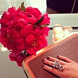 Swarovski crystals, pink peonies, and a taupe manicure make a fine trio. Don't you agree? Source: Instagram user darabupr