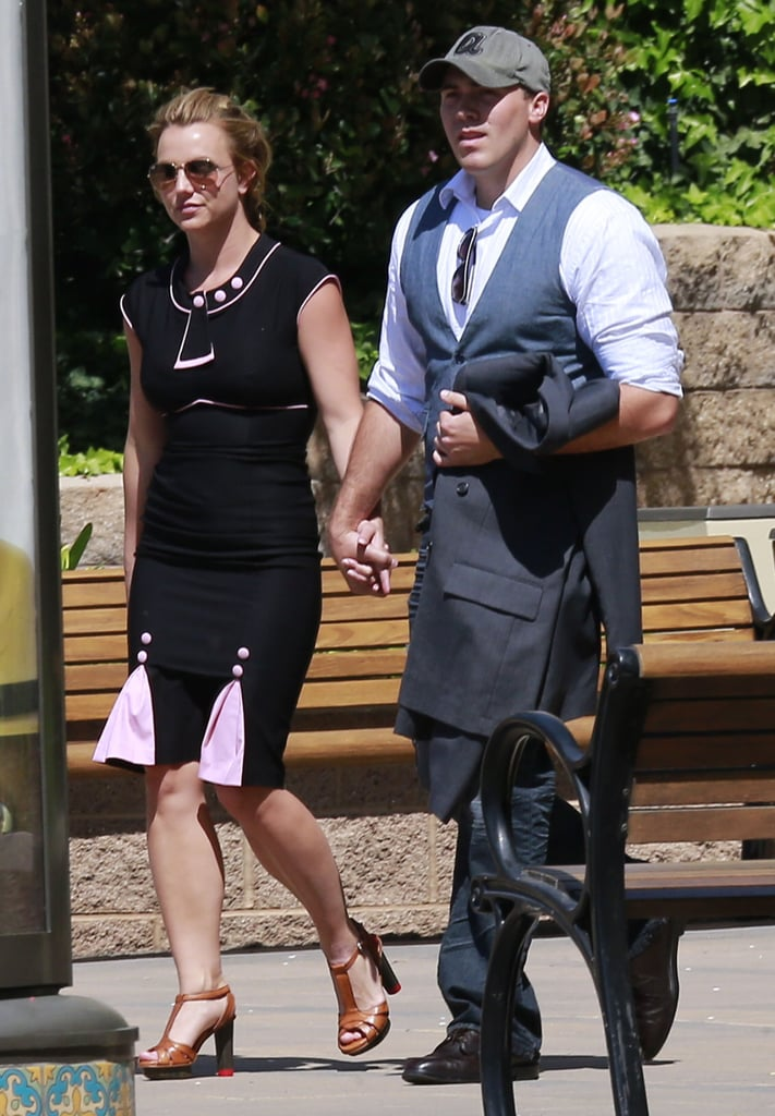 Britney Spears and David Lucado held hands as they left the mall.