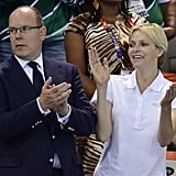 Prince Albert and Princess Charlene enjoyed the swimming competition.