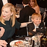 Cate Blanchett chatted while her son Ignatius Martin Upton made the cutest face.