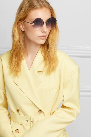 For Art's Sake Margarita Round-Frame Faux-Pearl Embellished Gold-Tone Sunglasses