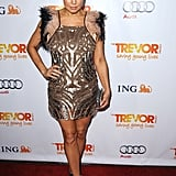 Fergie stepped out in an embellished feather-trimmed mini for the Trevor Project's Trevor Live event.