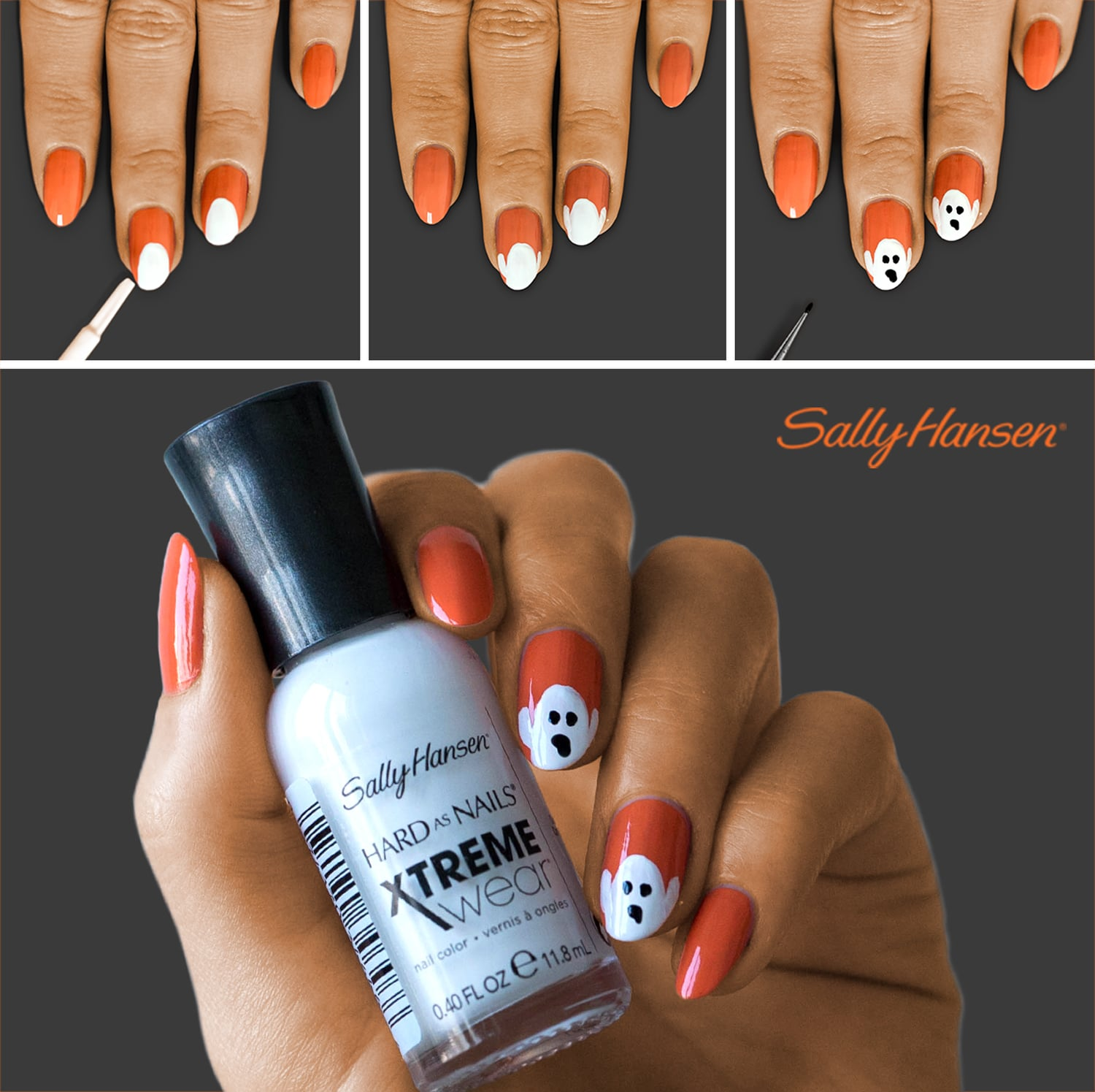 Halloween Ghost Nail Art in 3 Easy Steps From Sally Hansen ...