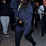 In 2019, Rihanna stepped out wearing Fenty branded sunglasses, teasing the launch of her own luxury brand, and Balenciaga boot pants.