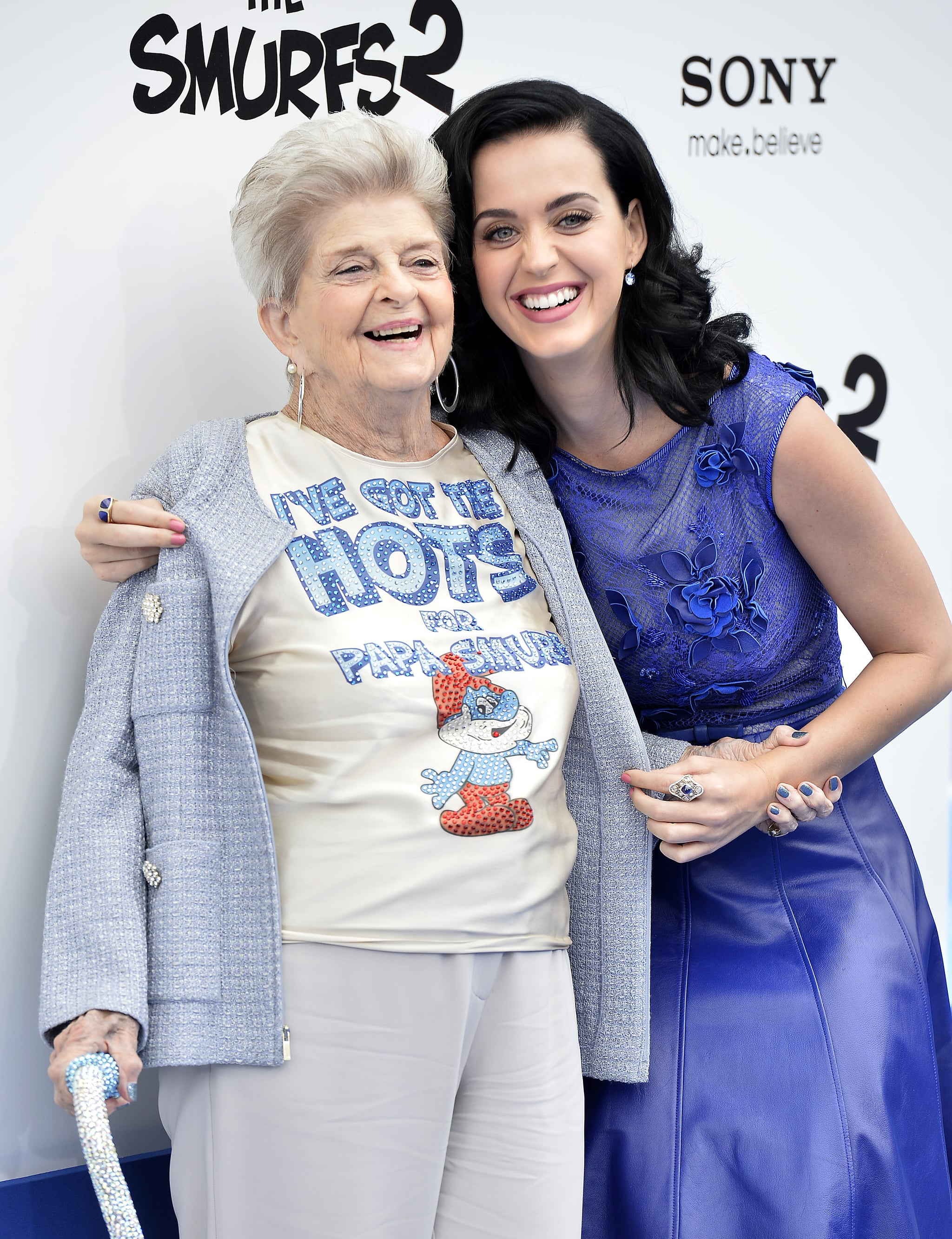 Katy Perry Attended The Premiere With Her Grandmother Ann Hudson Katy Perry Has A Fangirl Moment With Britney Spears At The Smurfs 2 Premiere Popsugar Celebrity Photo 3