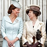 Kate Middleton and Princess Anne on the Buckingham Palace Balcony in July 2018