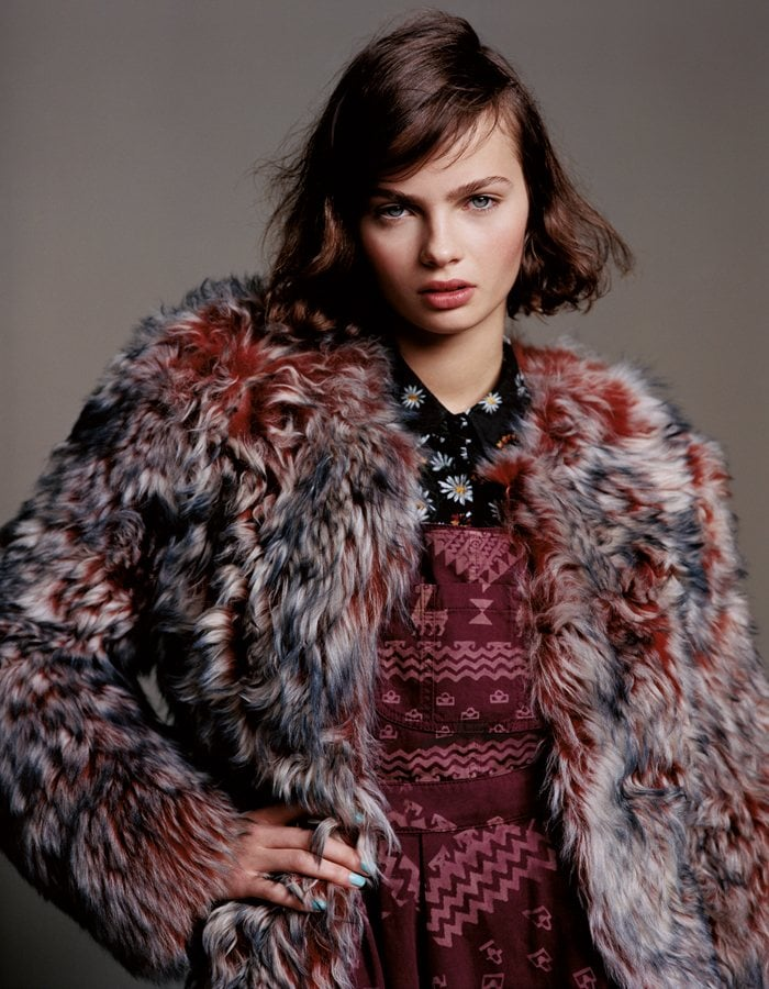 For Fall 2012, Topshop enlisted a whole new crew of models to wear its cold-weather pieces. And to start, we're loving this multicolored fur coat styled with both a floral and an Aztec-inspired print.