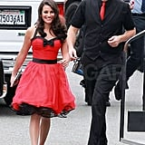 Lea Michele and Cory Monteith wore coordinating costumes on the set of Glee.