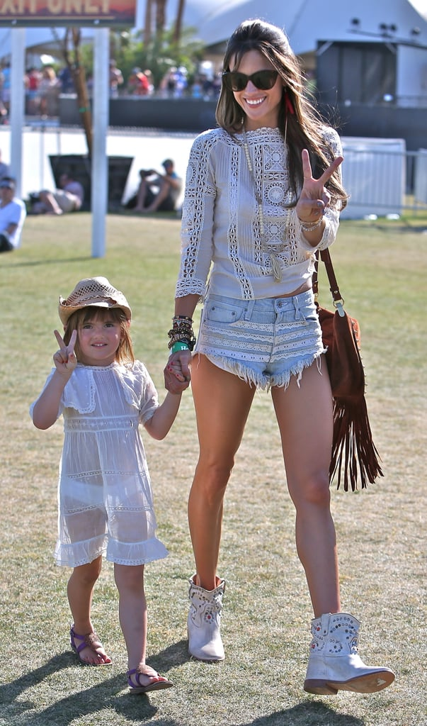 Alessandra Ambrosio brought her daughter, Anja Mazur, along for Coachella fun in Indio, CA, on Sunday.