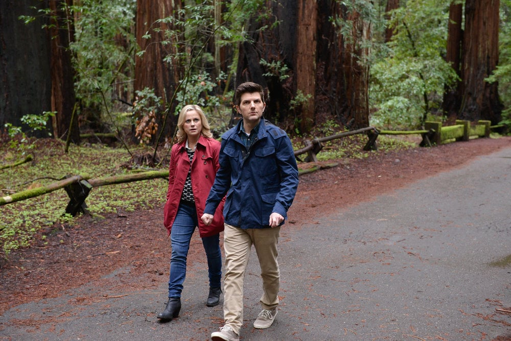 Leslie (Amy Poehler) and Ben (Adam Scott) go for a stroll in the finale episode of Parks and Recreation, airing Thursday, April 24, on NBC.