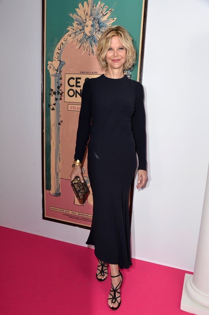 Meg Ryan made a rare, stunning appearance in Paris on Monday, stepping out in style for the Schiaparelli Haute Couture show. The actress wore a black, formfitting dress for the occasion, posing for pictures and waving as she walked the red carpet. The event marked Meg's first official public appearance since April 2014, when she and Billy Crystal reunited for the Chaplin Award Gala in NYC. Keep reading for more pictures of Meg's trip to France, then relive some of her best rom-com moments!