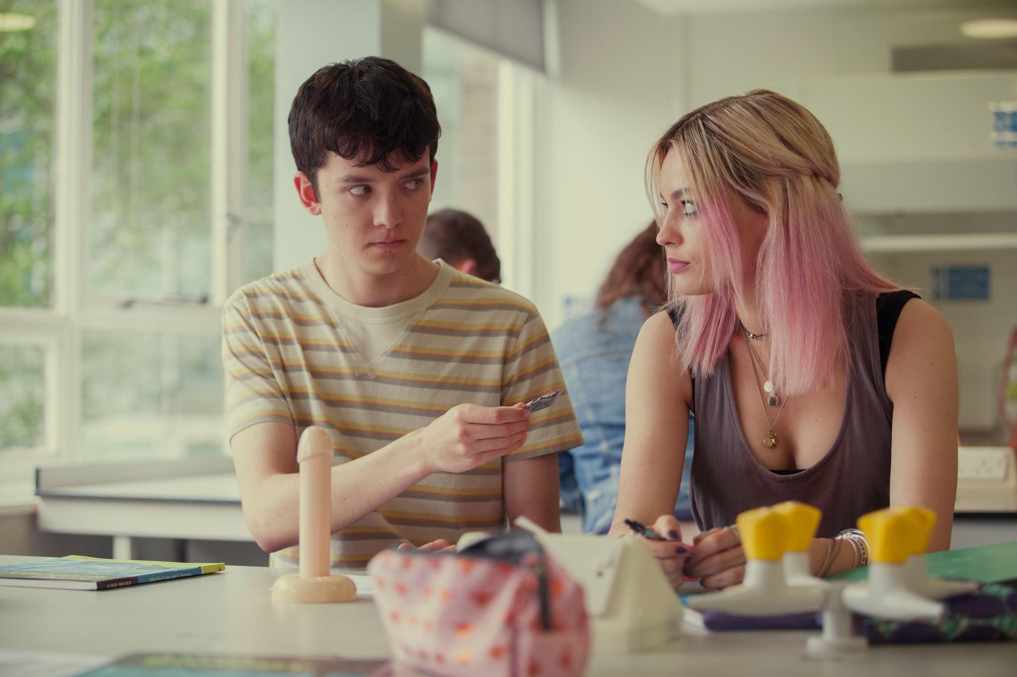 SEX EDUCATION, from left: Asa Butterfield, Emma Mackey, (Season 1, ep. 101, airs Jan. 11, 2019). photo: Jon Hall / Netflix  / Courtesy: Everett Collection