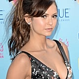 Vampire Diaries diva Nina Dobrev opted for a sexy, tousled ponytail. Bold brows and great highlighting completed the look.