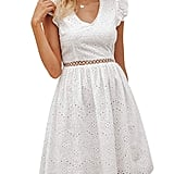 BerryGo Elegant Lace Ruffle Mini Dress
