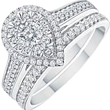 9ct White Gold 0.50ct Pear Double Halo Diamond Bridal Set