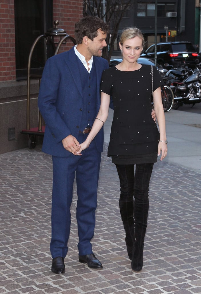 Diane Kruger and Joshua Jackson held hands as they arrived at the premiere of her film The Host in NYC.