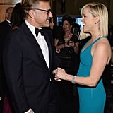 Reese Witherspoon greeted Christoph Waltz.  Source: Larry Busacca/NBC/NBCU Photo Bank/NBC