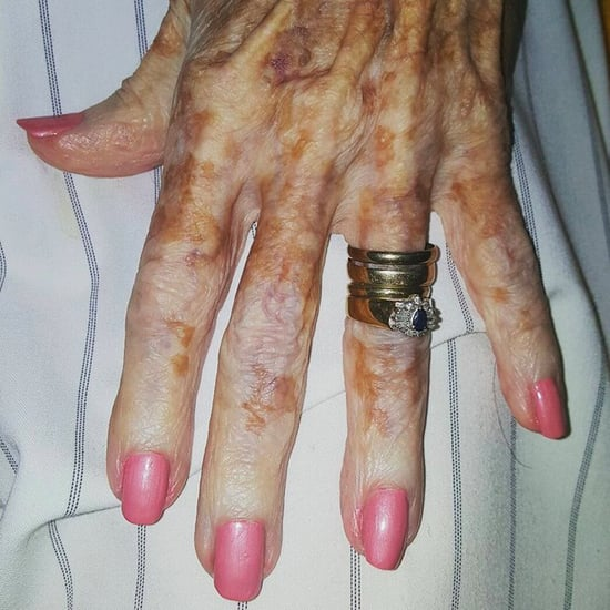Elderly Woman's Pink Manicure