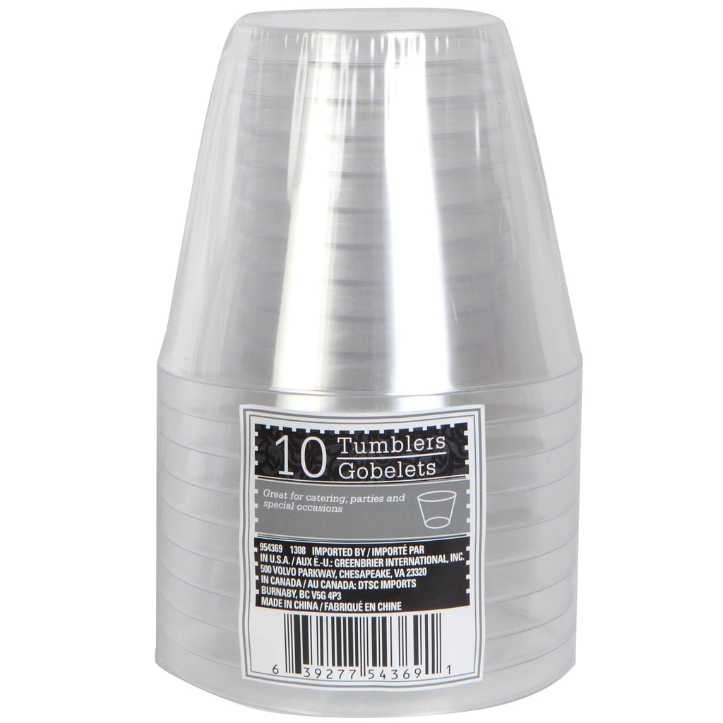 Clear Plastic Tumblers ($1 per pack of 10)