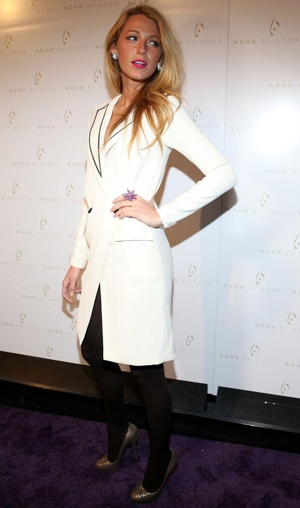 Blake Lively wore a white blazer dress.