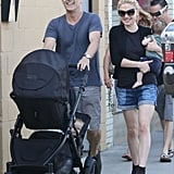 Anna Paquin and Stephen Moyer shared a laugh while walking with their twin babies in LA in June 2013.