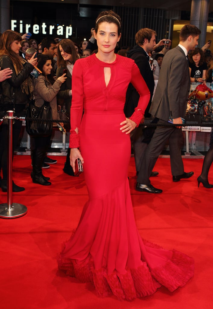 Cobie Smulders wore an elegant red gown to the premiere of The Avengers in London.