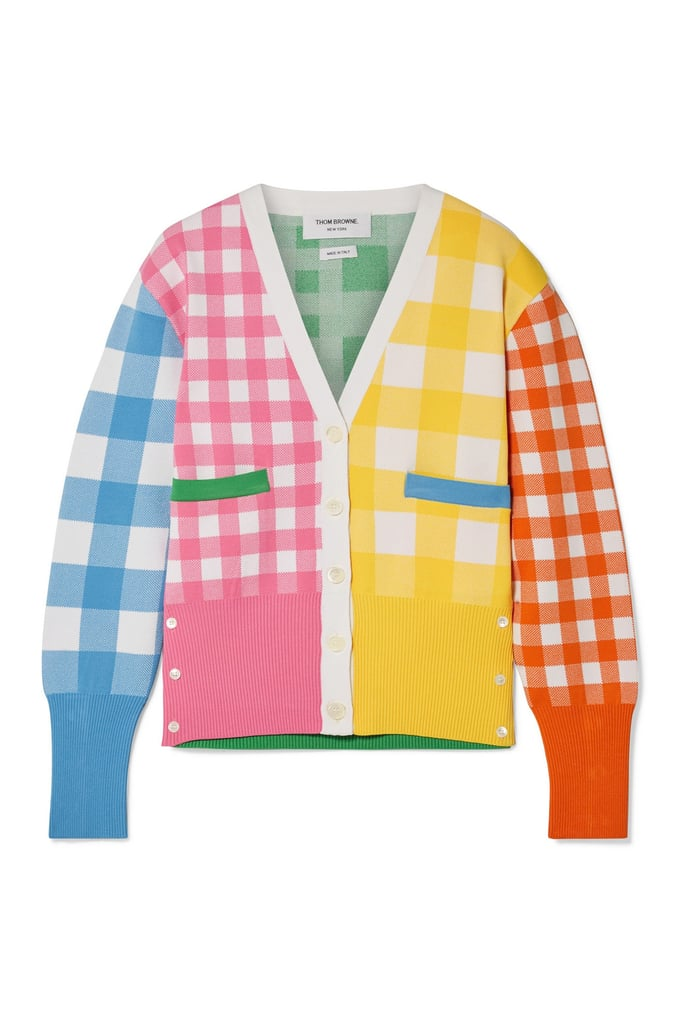 Thom Browne Paneled Gingham Knitted Cardigan