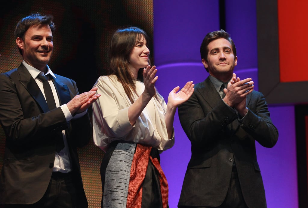 Berlin Film Festival judges Francois Ozon and Charlotte Gainsbourg joined Jake on stage for the opening ceremony.