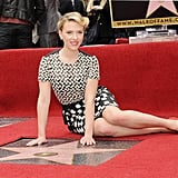 Scarlett posed with her brand-new star on the Hollywood Walk of Fame in May 2012.
